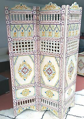 Beige  Moroccan Room Wood Divider Screen Partition Panel Wall   Separation