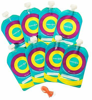 Reusable Baby Food Pouch 8-Pack � Refillable 7 oz. Toddler Squeeze Pouches Proof