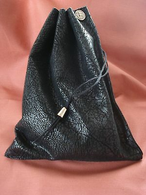 """Taxi Bags  9"""" X 7"""" Fully Lined With Pull Drawstring + Silver Pull And Button"""
