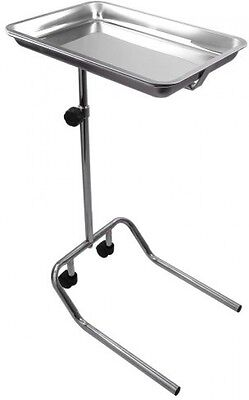 AW Mobile Mayo Stainless Steel Tray Stand Adjustable Trolley Medical Salon