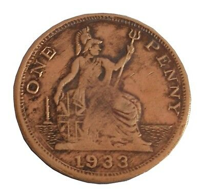 1933 Original Europe World Money Currency $0.01 Great Britain One Penny Coin