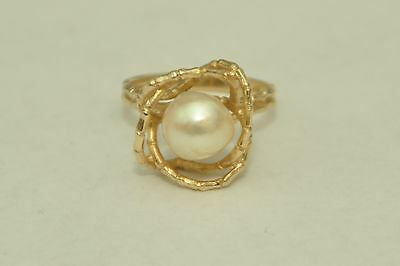 Vintage TRC 14k Yellow Gold 9mm Pearl Ring *Size 7-1/4*
