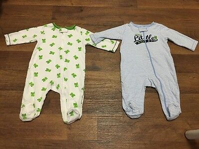 Set Lot 2 Pcs Carter's Sleepers Cotton Long Sleeve Boy Infant Baby 6 Months
