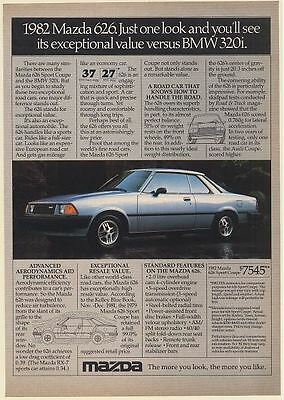 1982 Mazda 626 Just One Look See Exceptional Value versus BMW 320i Print Ad