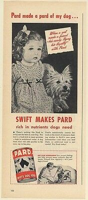 1947 Swift's Pard Dog Food Girl and Terrier Print Ad