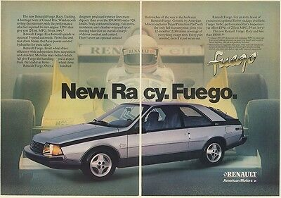 1982 Renault Fuego New Racy A Heritage Born of Grand Prix 2-Page Print Ad