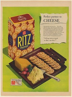 1950 Nabisco Ritz Crackers Perfect Partner to Cheese Print Ad
