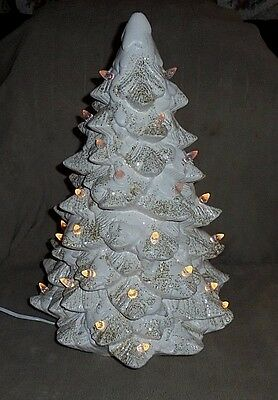 "Trim A Home illuminated white & gold porcelain Christmas tree, 17"" high, switch"
