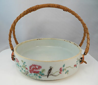 Vintage Chinese Porcelain Famille Rose Bowl w Handle China