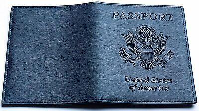 YumisGroup Leather Passport Case, Cover, Holder for Travel, Dark Blue. New Model