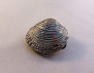 """Clam Shell Hinged 800 Sterling Silver Box-1 3/4"""""""