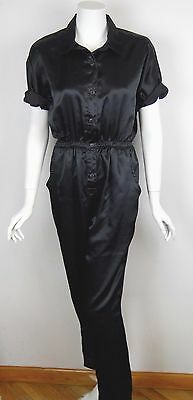 Vintage 80s Womens Coveralls Black Satin Small One Piece Jumpsuit Jumper Romper