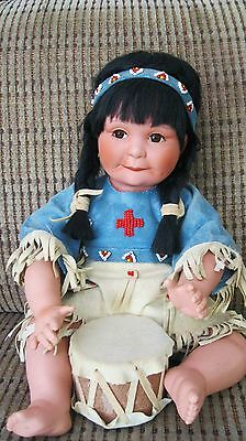 Song of the Sioux Native American Porcelain Doll with Drum Perillo Danbury Mint