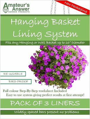 "Hanging Basket Liners (3 Pack) - Best Liner - Easy to use - Up to 16"" Diameter"