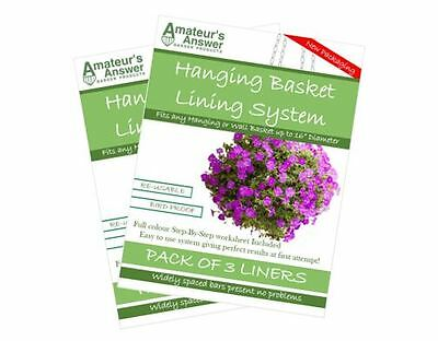 """Hanging Basket Liners (6 Pack) - Best Liner - Easy to use - Up to 16"""" Diameter"""