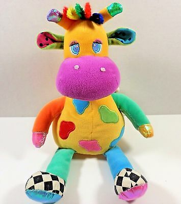 2000 14 Inch Animal Alley Yellow Giraffe Plush Baby Toy W/ Rattles And Squeaker