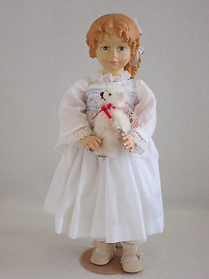 """MIB 13"""" All Wood Anri Susie-Fully Jointed with miniature Gund Bear"""