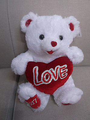 "Sweetheart Teddy Bear White Plush Holds Heart Pillow Says ""love"" 18 In"