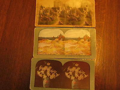 Vintage cards for your Stereoscope, Set of 3, in colour, great shape!