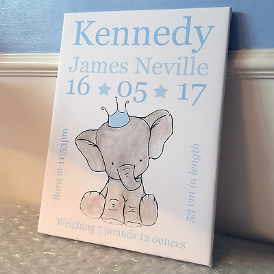 Personalised new baby girl boy keepsake bedroom print elephant childrens decor