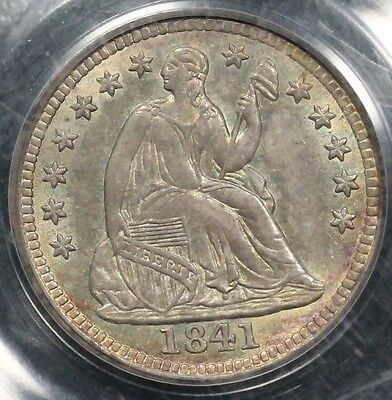 1841 H10C Liberty Seated Half Dime PCGS MS 62 Beautiful toning!