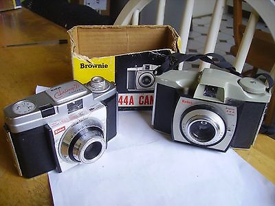 Vintage collectible Kodak cameras Brownie 44a/colorsnap 35 between 1959-1965.