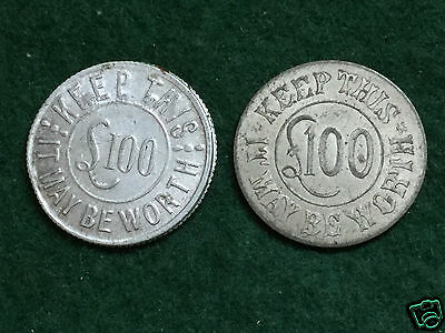 WEEKLY TELEGRAPH - 2 x £100 Tokens. - Early 20th Century.