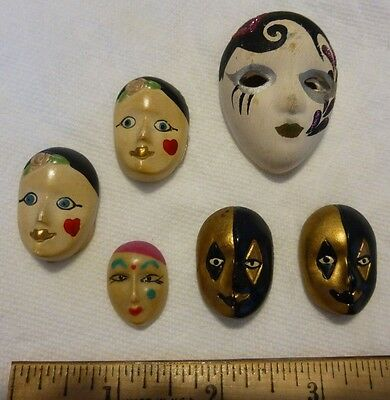 Lot of 6 miniature Chinese mask face (Made in Taiwan)