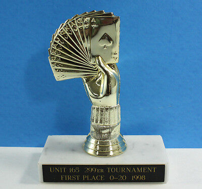 Vintage Card Playing Trophy Small Marble Base Poker Tournament Bridge Blackjack