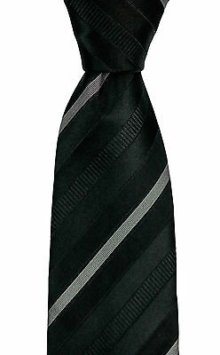 Mens BRIONI Black Jacquard Regimental Stripes Handmade Silk Tie Necktie NWT $230