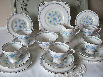 "Chic Tuscan ""Love in the Mist"" Bone China Tea Set.Free Glass Candlestand inc."