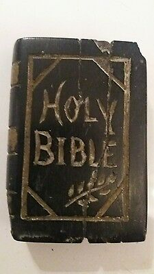 Early antique carved stone bible  book coal? 18th century