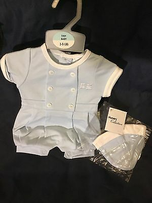Premature Baby Boys Traditional Spanish Style Romany All in One 3-5 5-8lbs Blue
