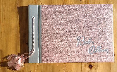 Vintage baby album 1960's pink and silver