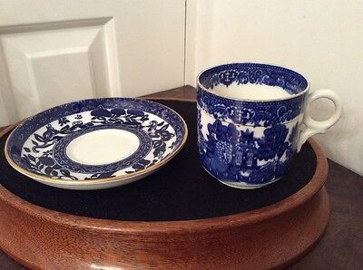 Antique Coalport Blue and Gold Cup and Saucer