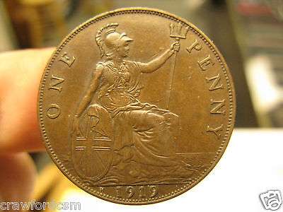 Great Britain 1919 H 1919H Penny  - Uncleaned Original