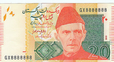 2015 Pakistan Rs 20 Solid Lucky Fancy Number Gx 8888888 Unc.