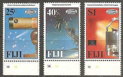 Fiji 1986 Halley's Comet set SG 738 - 740 MNH with plate numbers