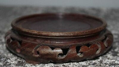 Large Chinese Carved Harwood  Wood Vase Bowl Pot Stand Red