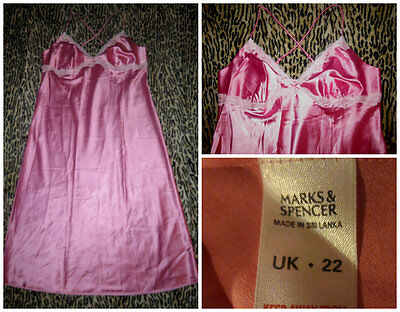 M & S Liquid Satin Pretty Pink Petticoat Lingerie Full Slip Sassy Femme Uk 22
