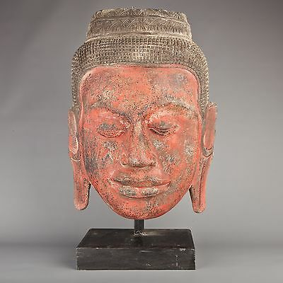 "Antique Khmer Style Teak Wood Mounted 18"" Face of Buddha Statue"