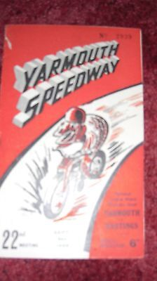 1949 YARMOUTH v HASTINGS SPEEDWAY PROGRAMME