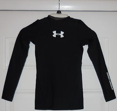 Youth Boys Girls Under Armour Cold Gear Black Long Sleeve Base Layer Shirt, S