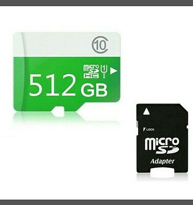 HOT High Speed Green 512GB MicroSD SD/TF Drive Flash Memory Card Class10 + Adapt
