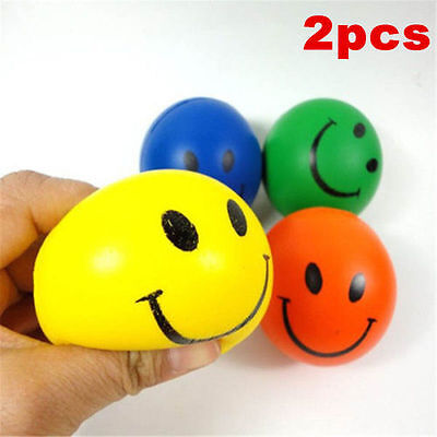 2Pcs Anti-Stress Smiley Face Reliever Ball Stressball ADHD Autism Mood Squeeze