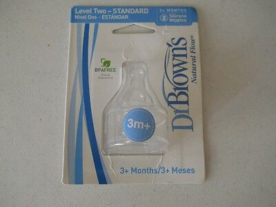 Dr. Brown's Natural Flow Silicone Nipples, Pk of 2, 3+ Months or Older, New