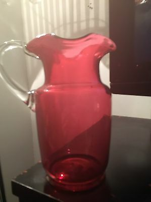 ANTIQUE VICTORIAN CRANBERRY GLASS  JUG  22 1/2cms ,