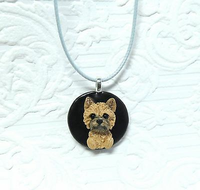 Cairn Terrier Necklace Polymer Clay Hand Sculpted by Raquel