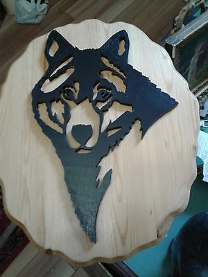vintage wolf wooden wall plaque