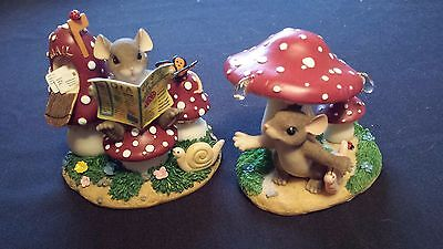 2 Vintage Charming Tails MOUSE MUSHROOM DIORAMAS Share the News Rain Must Fall
